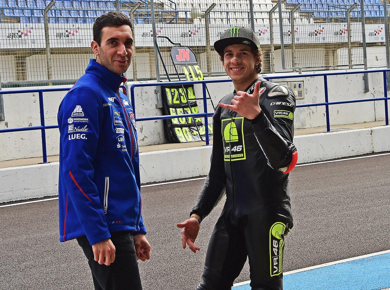 PrüstelGP 2018 beim IRTA-Test in Jerez mit Technischem Direktor Florian Chiffoleau und Fahrer Marco Bezzecchi